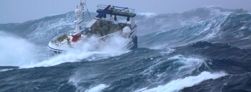 MV Harvester during storm in high seas